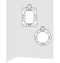 Hand drawn decorative frames on stripes wall vector image vector image