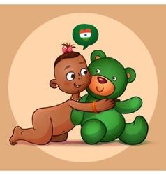 Little Indian girl hugging teddy bear green vector image