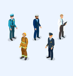 pilot sailor doctor firefighter and policeman vector image vector image