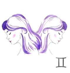 Watercolor Gemini girl vector image