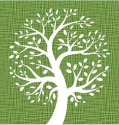 White Tree icon on Dark Green Canvas texture vector image vector image