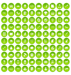 100 cat icons set green circle vector