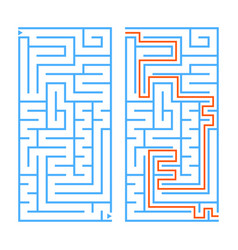 Abstract rectangular isolated labyrinth blue vector