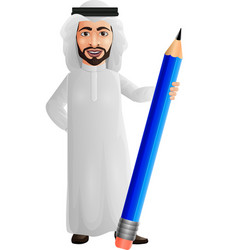 arab businessman holding a pencil vector image