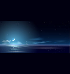 background night and month above sea vector image