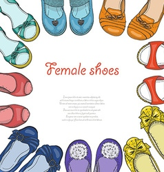 Background with women shoes in circle vector