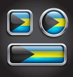 Bahamas flag glass buttons vector