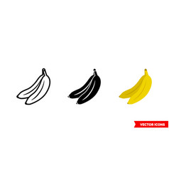 Banana icon 3 types color black and white vector