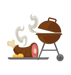 Barbecue grill meat cooking icon vector