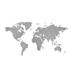 black halftone hexagon dotted world map dotted vector image