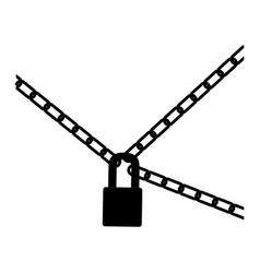 Black silhouette padlock and metal chains icon vector