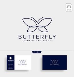 Butterfly beauty cosmetic line art logo template vector