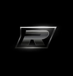 Carbon speed letter r logo dark matte metal vector