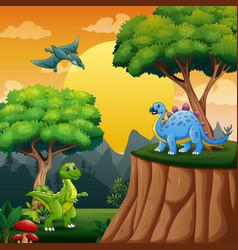 Cartoon dinosaurs in jungle vector