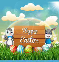 cartoon easter bunny with easter eggs next to a wo vector image