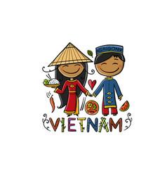 cartoon vietnam couple wearing traditional vector image