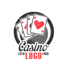 Casino logo vintage gambling badge or emblem estd vector