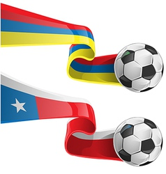 chile colombia flag with soccer ball vector image
