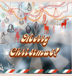 christmas background with vintage styled toys vector image