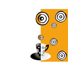coffee card orange black and white vector image