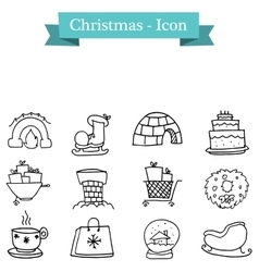 collection of Christmas object set vector image