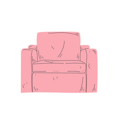 Comfortable pink armchair cushioned furniture vector