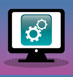 Computer with setup app vector