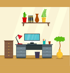 computer work place concept background flat style vector image