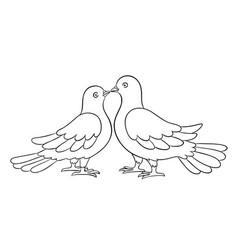 Couple doves kissing - countour vector