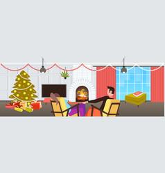 couple sitting near fireplace xmas new year winter vector image