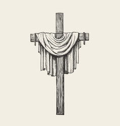 Crucifix cross and shroud hand drawn religious vector