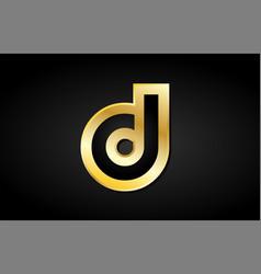 D gold golden letter logo icon design vector