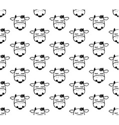 doodle cartoon seamless pattern with cows black vector image