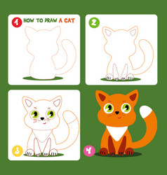 drawing game step tutorial little cat worksheet vector image