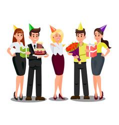 Employees celebrating birthday flat vector