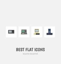 flat icon computer set of computer technology vector image