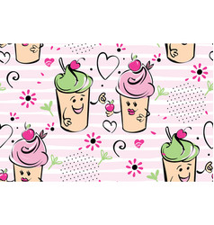 Girl and boy ice cream character and cherry pink vector