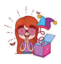 girl with fools day surprise box and joker hat vector image