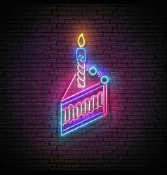 glow signboard with piece cake and candle vector image