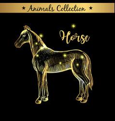 golden and royal hand drawn emblem of farm horse vector image