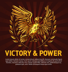 golden eagle symbol of victory and power vector image