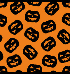 Halloween tile pattern with black pumpkin vector