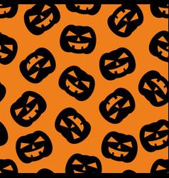 halloween tile pattern with black pumpkin vector image