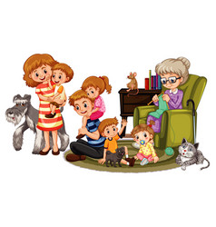 Happy family members and pets vector
