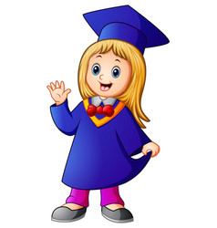 Happy graduation girl cartoon vector