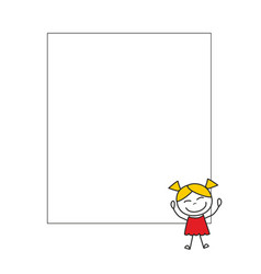 happy little girl with white background banner vector image
