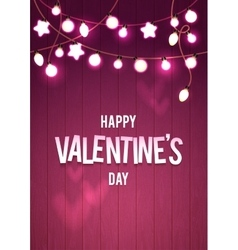 Happy Valentine s Day Wood Card Pink Bokeh vector image