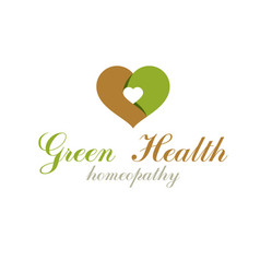 heart shape composed with green leaves vector image