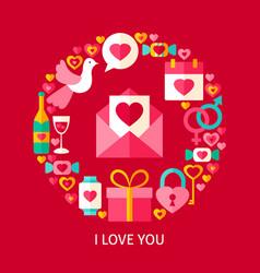 i love you postcard vector image vector image