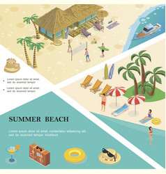 isometric summer vacation colorful template vector image